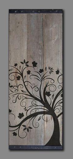 Reclaimed Barn Wood - Rustic Wall Art - Whimsical tree Painting x - Wood Art Barn Wood Projects, Reclaimed Wood Projects, Reclaimed Barn Wood, Art Projects, Rustic Barn, Rustic Wall Art, Rustic Walls, Wood Wall Art, Wood Artwork