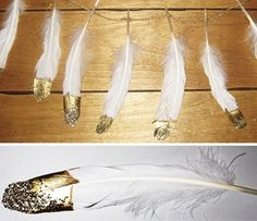 DIY Gold and Glitter Dipped Feathers | Bridal Musings