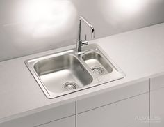 Featuring a double-bowl design that can hold plenty of dishes, this stainless steel sink is a gre . Stainless Steel Double Sink, Undermount Stainless Steel Sink, Undermount Sink, Stainless Kitchen, Steel Kitchen Sink, Kitchen Sinks, Cast Iron Sink, Inset Sink, Old Sink