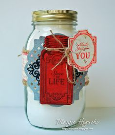 Jar Decor piece by #JustRitePapercraft Baking Antique Tags One Clear Stamps and Antique Tags One Dies. Used #Spellbinders S5-107 Lattice Motifs and S5-204 Lace Hearts. #FarmHousePaperCompany Country Kitchen Collection STEP OUTS on blog.