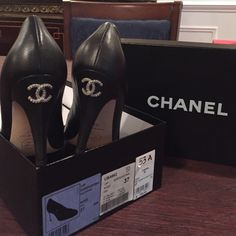 Chanel pumps Classic Chanel pumps with CC on the heels.  21/2 inches heel.  Easy to walk in. Classy, trendy, fashionable and timeless. Comes with original box and dust bags. CHANEL Shoes Heels