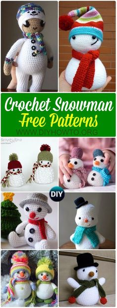 Collection of Crochet Snowman Softies Toys Free Patterns: Crochet Christmas snowman gifts, toys, softies, plush, ornaments for kids via @diyhowto