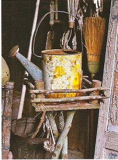Pictorial Child's Watering Can with time-worn rust patina...
