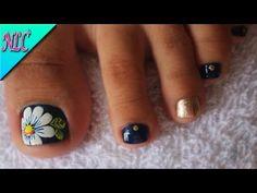 DECORACIÓN DE UÑAS PARA PIES FLOR MARGARITA♥ - FLOWERS NAIL ART - NLC - YouTube