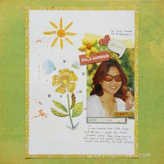 Insta Summer #watercolor background #scrapbook layout #twinkling H2O's