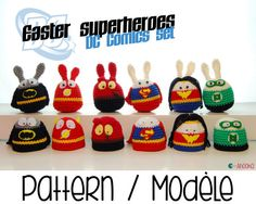 Easter superheroes bunnies and egg cozies SET1 [crochet amigurumi pattern] - English and French
