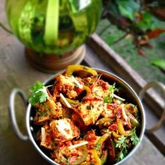 I've been looking to cook with Paneer - may have to try this! ...Or at least get Scot to whip up a new hors d'oeuvre: restaurant style kadai paneer