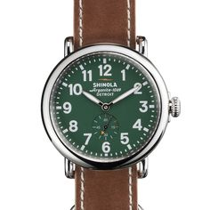 Fink's Jewelers - Shinola Men's Runwell 41mm Stainless Steel Green Dial Watch with Tan Leather Strap, $625.00 (http://finksjewelers.com/shinola-mens-runwell-41mm-stainless-steel-green-dial-watch-with-tan-leather-strap/?page_context=category