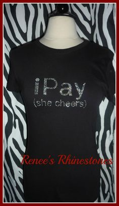 I pay she cheers Cheer Mom Rhinestone Cheer t shirt cheerleader cheer tee cheer bling rhinestone cheer