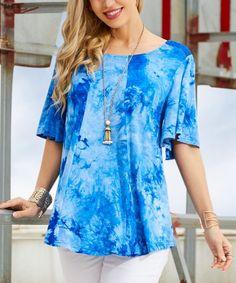 039560b1d1fbc Suzanne Betro Royal Blue Tie-Dye Bell-Sleeve Scoop Neck Tunic - Women &