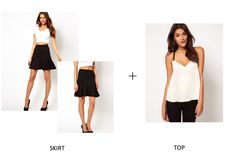 Mini Skirt With Frill Hem In Textured Jersey+Cami With Contrast Elastic Straps