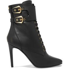 Balmain - Lace-up Leather Ankle Boots (38.005 RUB) ❤ liked on Polyvore featuring shoes, boots, ankle booties, balmain, ankle boot, black, black bootie, leather ankle boots, black cutout booties and black booties