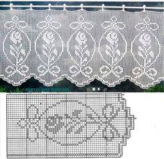 25 Patrones para Hacer Bonitas Cortinas a Crochet ⋆ Manualidades Y DIYManualidades Y DIY Filet Crochet Charts, C2c Crochet, Crochet Squares, Crochet Home, Thread Crochet, Crochet Doilies, Crochet Flowers, Free Crochet, Crafts