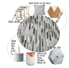 """Marble and Cowhide LOVE"" by immar on Polyvore featuring interior, interiors, interior design, home, home decor, interior decorating, Menu, Thirstystone, Budri and Dot & Bo"