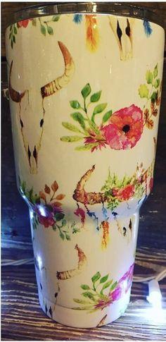Steer Skull & Flowers Cup