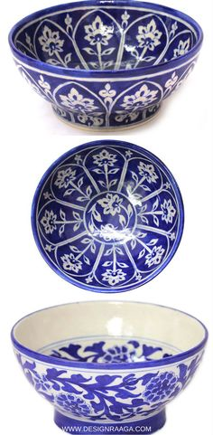 Stunning blue pottery bowls from India