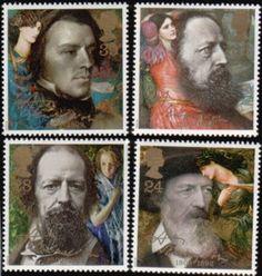 Literary Stamps: Tennyson, Alfred (1809–1892)rt Brit 1992 Scott# 1441 24p Tennyson/Beguilling of Merlin Grt Brit 1992 Scott# 1442 28p Tennyson/April Love Grt Brit 1992 Scott# 1443 33p Tennyson/Lady of Shalott Grt Brit 1992 Scott# 1444 39p Tennyson/Mariana