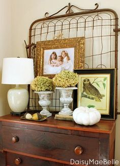 Fall decor - loving the garden gate and the owl