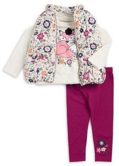 Adorable fox tee, floral vest and leggings. Perfect outfit for fall. | Girls | Toddles | Fashion | Fall | Warm | Cozy | Cute | Stylish | Pink | Winter |