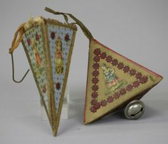 2102: DRESDEN CONE CANDY CONTAINER & PYRAMID BELL : Lot 2102