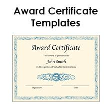 Blank Award Certificate Template For Word. Chose From Several Free Printable  Award Certificate Templates.  Free Appreciation Certificate Templates