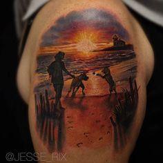Jesse Rix does amazing scenic portraits! #inked #inkedmag #tattoo #ocean #beach #scene #love #scenic #realism