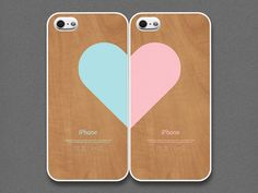 evoncase: iPhone 5 Case - Love pairs for couples : Wood pattern (set of 2 cases per order).