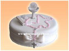 Torta de Primera Comunión First Communion Cakes, First Holy Communion, Religious Cakes, Holy Communion Dresses, Cake Designs, Amazing Cakes, Christening, Fondant, Ale
