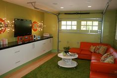Garage converted to living space. With original door. Great Room for Kids - Garage Ideas Garage Playroom, Garage Game Rooms, Garage To Living Space, Garage Room, Small Garage, Living Spaces, Car Garage, Garage Office, Garage Closet