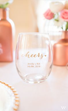 These gorgeous stemless wine glasses can be personalized for your special day. Add the design of your choice as well as your names and wedding date and you are all set! These make great favors for your wedding guests. #glassware