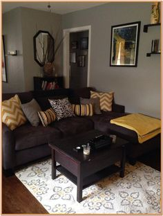 BROWN LIVING ROOM IDEAS – Let's make this year as the year of simplicity. We can start realizing the goal by working on brown living room ideas. Brown has earned a reputation as . Read Gorgeous Brown Living Room Ideas 2020 (For Your Inspiration) Grey And Yellow Living Room, Brown Couch Living Room, Dark Living Rooms, Living Room Paint, Dark Couch, Dark Rooms, Grey Couches, Tiny Living, Modern Living