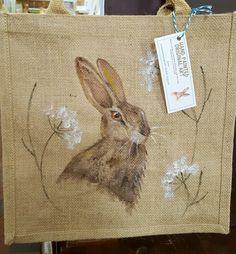 Selection of hand painted jute bags now in my etsy shophttps://www.etsy.com/uk/shop/louisemoneyoriginals #hare #handpaintedbag