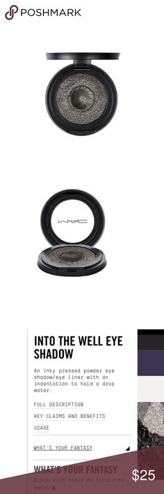 Mac Into The Well Eye Shadow An inky pressed power eye shadow/ eye liner with an indentation to hold a drop 💧 of water. Uncover the shameless indulgence of Into The Well Eye Shadow's pure matte pigments - a pressed powder eye shadow /eyeliner that's as sensuous as velvet. Dip brush into water prior to product pickup. Can be used wet or dry. Brand new. Never used or swatched. Use as shadow or liner. MAC Cosmetics Makeup Eyeshadow