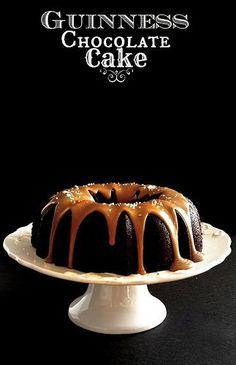 Guinness Chocolate Cake w/salted caramel glaze via http://www.thehungryhousewife.com/2013/03/guinness-chocolate-cake.html
