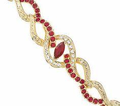 Jacqueline Kennedy Simulated Ruby Swirl Bracelet