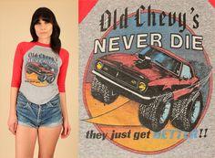 ViNtAgE 80's Old Chevy's Never Die Raglan by hellhoundvintage