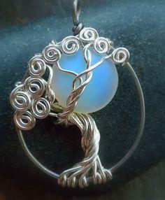 Colores de plata árbol de la vida colgante collar piedra de