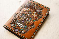 Leather Passport Cover - Sugar Skull Floral Design - Day of the Dead - Mexicali Calaveras - Día de Muertos - Flower from MesaDreams on Etsy. Leather Passport Wallet, Muslin Bags, Leather Conditioner, Passport Cover, Leather Tooling, Tooled Leather, Day Of The Dead, Customized Gifts, Hand Stamped