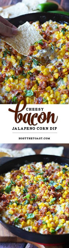Cheesy Bacon Jalapeno Corn Dip - Host The Toast Cheesy Bacon Jalapeno Corn Dip. The sprinkle of basil seems weird but it's SO AMAZING. This is a new football Sunday must-have! Appetizer Dips, Yummy Appetizers, Appetizer Recipes, Health Appetizers, Game Day Appetizers, Thanksgiving Appetizers, Holiday Appetizers, Health Desserts, Dessert Recipes