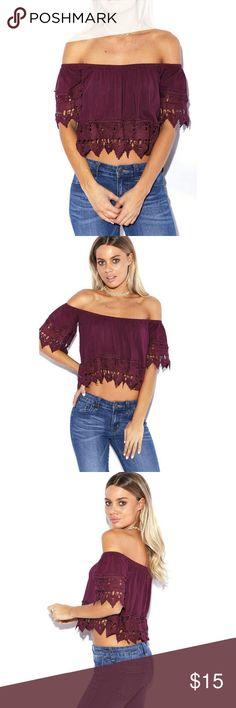 Sexy boho off shoulder maroon burgundy crop top Wine color. Crochet trim. Worn twice.so cute! Not f21! Forever 21 Tops Crop Tops