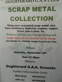 Oughterard, Galway locals... GAA Club Scrap Metal Collection Scrap Car, Community, Club, Personalized Items, News, Metal, Collection, Metals