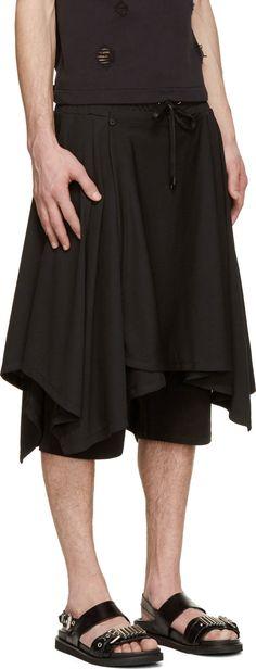 D.Gnak by Kang.D Black Mesh Layered Shorts