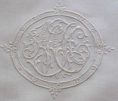 Em's Heart Antique Linens -Monogrammed Antique Appenzell Embroidered Sheet