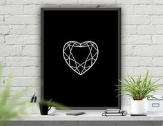 "Minimalist Art Print Wall Decor,Diamond Art Poster,Instant Download Printable Art,Abstract Geometric Wall Poster,Black Decor ""Diamond Heart"""