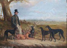 edmund bristow | BALDOCK James Walsham,Portrait of a gentleman with five Greyhounds in ...