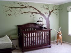 Baby Boys Nature Inspired Nursery- different shade of green and different tree