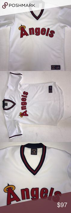 90's California Angels MLB Baseball Jersey Up for sale is a Vintage Men's Size California Angels Pullover MLB Baseball Jersey by Majestic Cooperstown Collection. Condition: Pre-owned. There is noticeable cosmetic stains on the left arm sleeves. Jersey is still in very good shape. The letters are sewn on. Size: Unknown but I think it's a size XL based on the measurements below. Measured: Pit to Pit laid flat = about 24 inches | Length from top collar to bottom = about 32.5 inches. Please see…