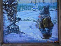 картина на бересте Гном и сорока