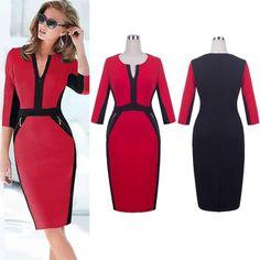 Charming Red Black Slim Fit Sheath Work Dress With Pocket