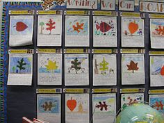 """Fall writing: Give them a choice of leaf cut outs to use for this. Use die cuts at school in different shapes and fall colors. Then kids had to imagine the leaf as something else and created a picture from it. """"Sound Effect Lead"""" as a way to begin the paragraph"""